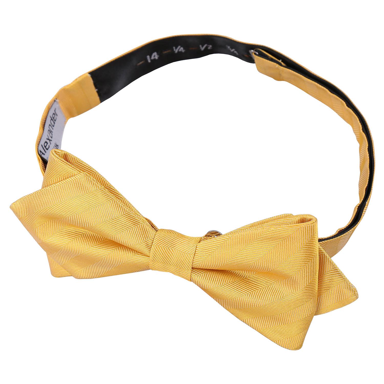 primrose yellow herringbone silk pre pointed bow tie