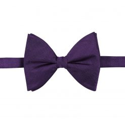 Purple Herringbone Silk Pre-Tied Butterfly Bow Tie