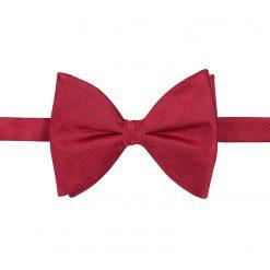 Red Herringbone Silk Pre-Tied Butterfly Bow Tie