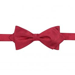 Red Herringbone Silk Pre-Tied Pointed Bow Tie