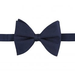 Navy Blue Panama Silk Pre-Tied Butterfly Bow Tie