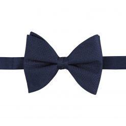 Navy Blue Panama Silk Pre-Tied Butterfly Bow Tie