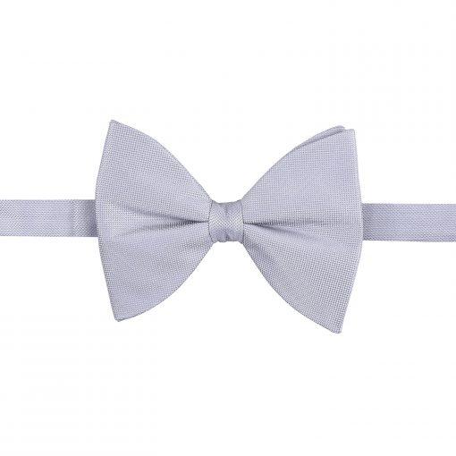 Silver Panama Silk Pre-Tied Butterfly Bow Tie