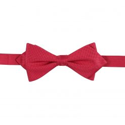 Strawberry Red Panama Silk Pre-Tied Pointed Bow Tie