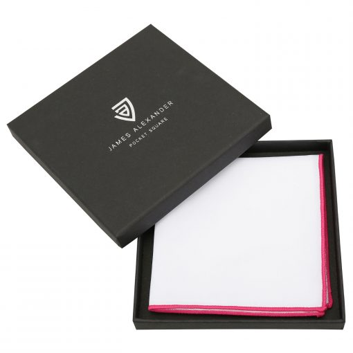 White Cotton Pocket Square With Hot Pink Trim