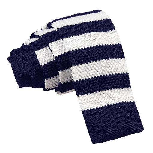 Navy & White Striped Knitted Skinny Tie