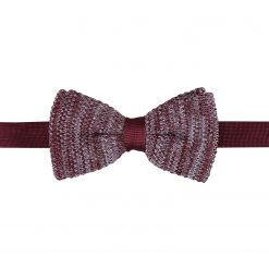 Burgundy Melange Plain Speckled Knitted Pre-Tied Thistle Bow Tie