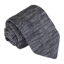 Grey Melange Plain Speckled Knitted Slim Tie