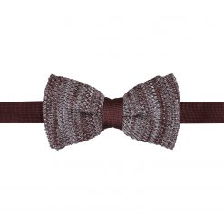 Mocha Brown Melange Plain Speckled Knitted Pre-Tied Thistle Bow Tie