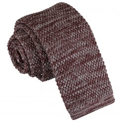 Mocha Brown Melange Plain Speckled Knitted Skinny Tie