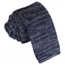 Navy Melange Plain Speckled Knitted Skinny Tie