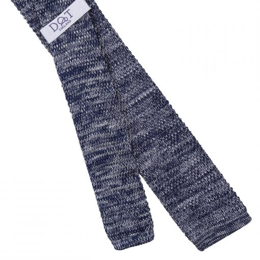 Navy Melange Plain Speckled Knitted Skinny Tie