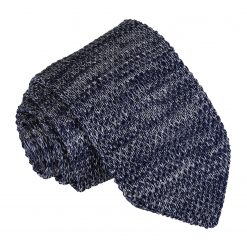 Navy Melange Plain Speckled Knitted Slim Tie