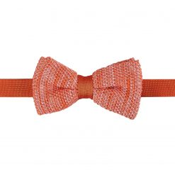 Orange Melange Plain Speckled Knitted Pre-Tied Thistle Bow Tie