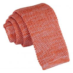 Orange Melange Plain Speckled Knitted Skinny Tie