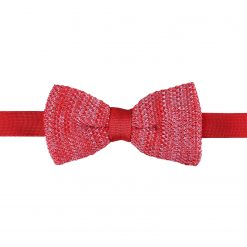 Red Melange Plain Speckled Knitted Pre-Tied Thistle Bow Tie