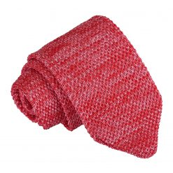 Red Melange Plain Speckled Knitted Slim Tie