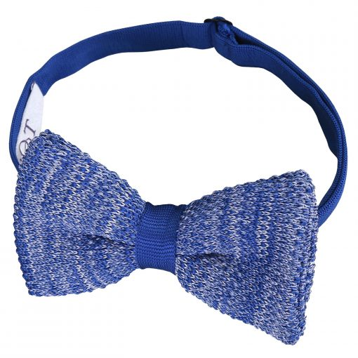 Royal Blue Melange Plain Speckled Knitted Pre-Tied Thistle Bow Tie