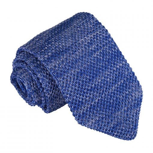 Royal Blue Melange Plain Speckled Knitted Slim Tie