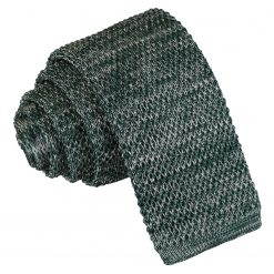 Teal Melange Plain Speckled Knitted Skinny Tie