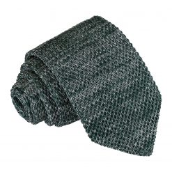 Teal Melange Plain Speckled Knitted Slim Tie