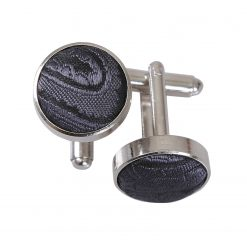 Charcoal Grey Paisley Silver Plated Cufflinks