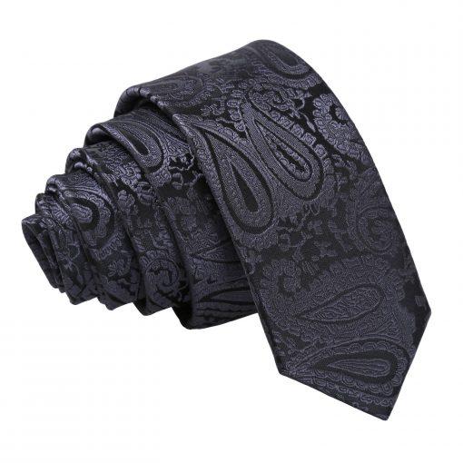 Charcoal Grey Paisley Skinny Tie