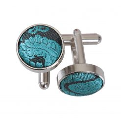 Teal Paisley Silver Plated Cufflinks