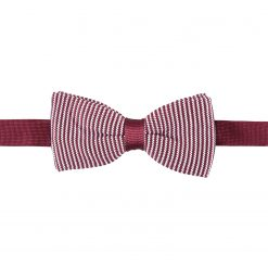 White and Burgundy Pin Stripe Knitted Pre-Tied Thistle Bow Tie