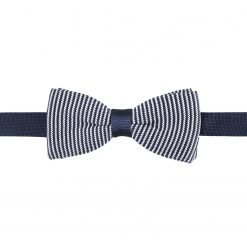 White and Navy Pin Stripe Knitted Pre-Tied Thistle Bow Tie
