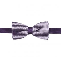 White and Purple Pin Stripe Knitted Pre-Tied Thistle Bow Tie