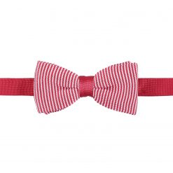 White and Red Pin Stripe Knitted Pre-Tied Thistle Bow Tie