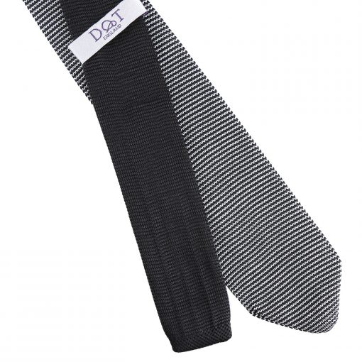 White and Black Pin Stripe Knitted Slim Tie