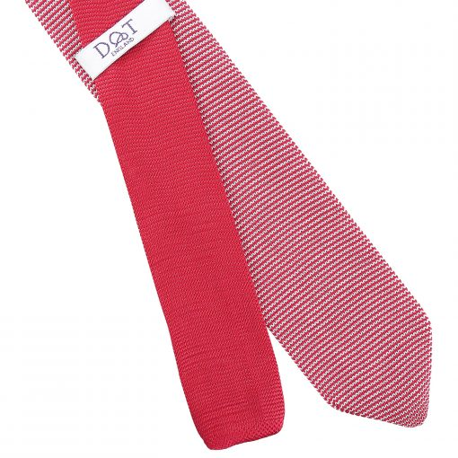 White and Red Pin Stripe Knitted Slim Tie