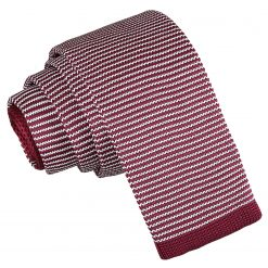 White and Burgundy Pin Stripe Knitted Skinny Tie