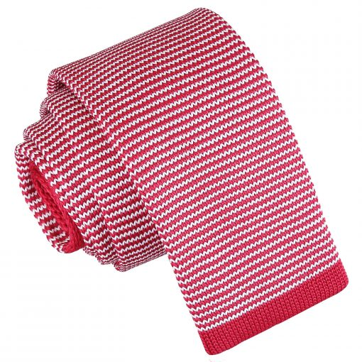 White and Red Pin Stripe Knitted Skinny Tie