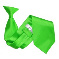 Apple Green Satin Clip On Tie