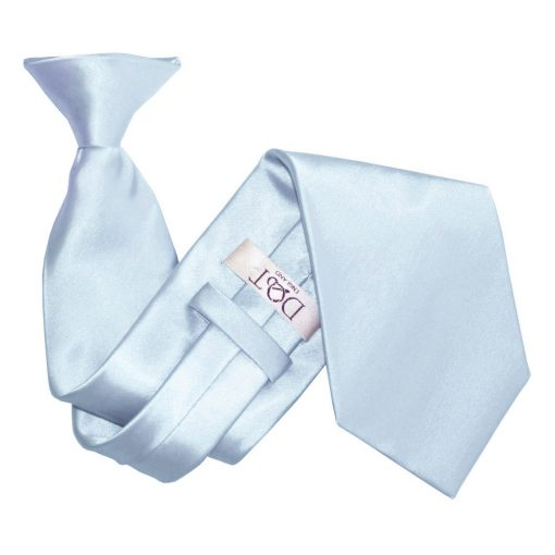 Baby Blue Satin Clip On Tie