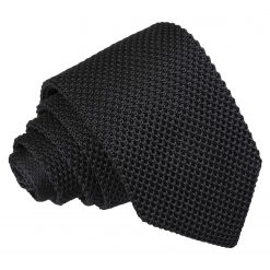 Black Knitted Slim Tie