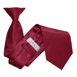 Burgundy Satin Clip On Tie