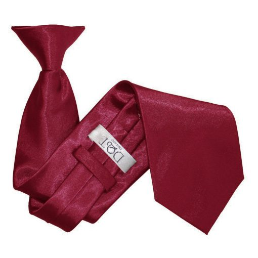 Burgundy Satin Clip On Tie