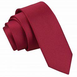 Burgundy Satin Skinny Tie