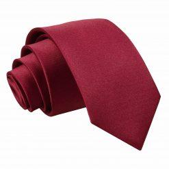 Burgundy Satin Slim Tie