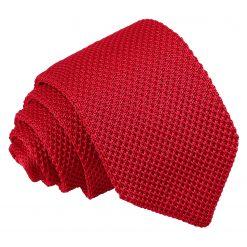 Crimson Red Knitted Slim Tie