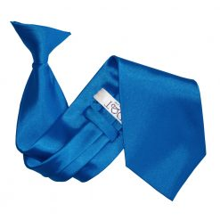 Electric Blue Satin Clip On Tie