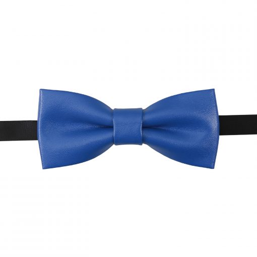 Royal Blue Plain Faux Leather Pre-Tied Thistle Bow Tie