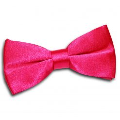Hot Pink Satin Pre-Tied Thistle Bow Tie