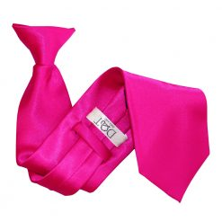 Hot Pink Satin Clip On Tie