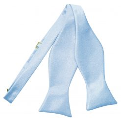 Baby Blue Satin Self Tie Thistle Bow Tie