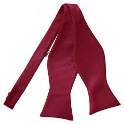 Burgundy Satin Self Tie Thistle Bow Tie